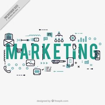 Marketing achtergrond met pictogrammen in plat ontwerp