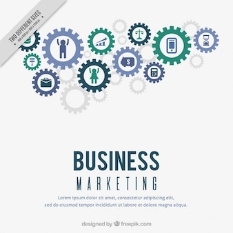 Marketing achtergrond met versnellingen en pictogrammen