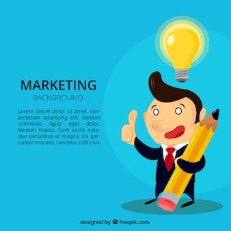 Marketing achtergrond met zakenman en gloeilamp