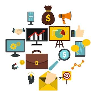Marketing artikelen instellen plat pictogrammen