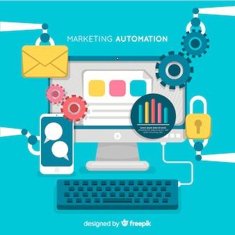 Marketing automatisering vlakke achtergrond