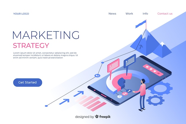 Marketing-bestemmingspagina in isometrische stijl