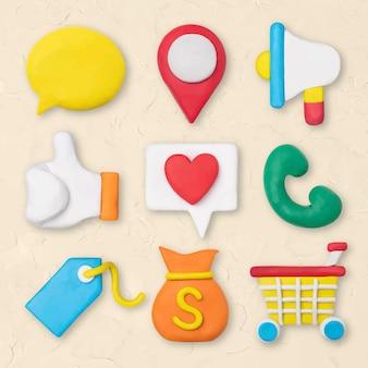 Marketing business pictogram vector creatieve kleurrijke klei kinderen afbeeldingenset