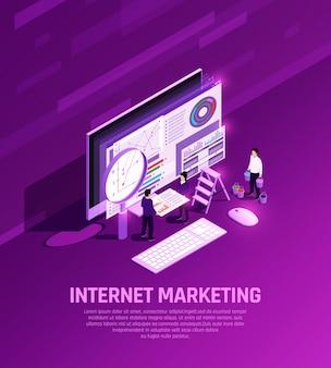 Marketing concept isometrische gloed samenstelling met conceptuele afbeeldingen van desktop computer elementen vergrootglas en mensen vector illustratie