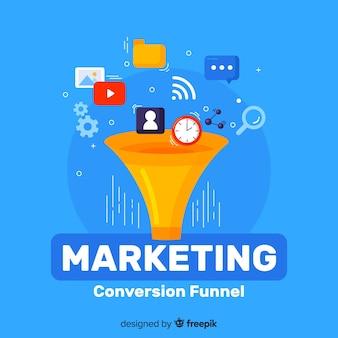 Marketing conversie platte achtergrond