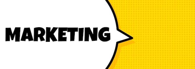 Marketing. de banner van de toespraakbel met marketingtekst. luidspreker. voor zaken, marketing en reclame. vector op geïsoleerde achtergrond. eps-10.