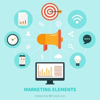 Marketing elementen achtergrond in vlakke stijl