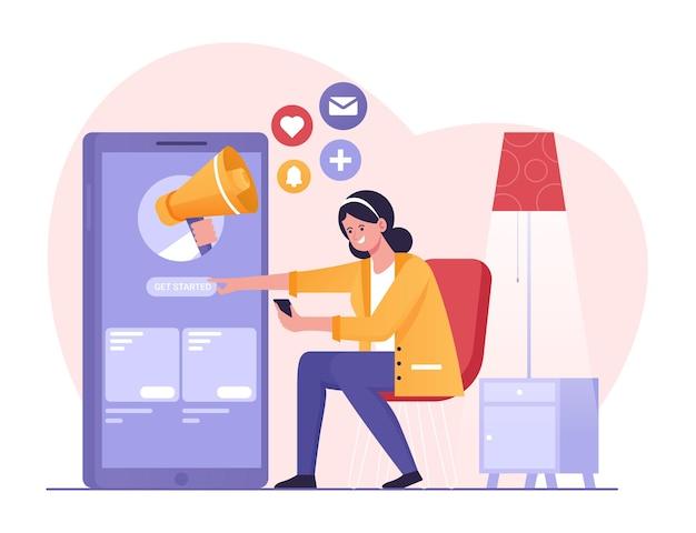 Marketing en reclame in mobiele app met megafoonvrouw die op marketingadvertentie klikt
