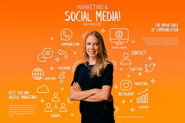 Marketing en sociale media achtergrond met grappige elementen