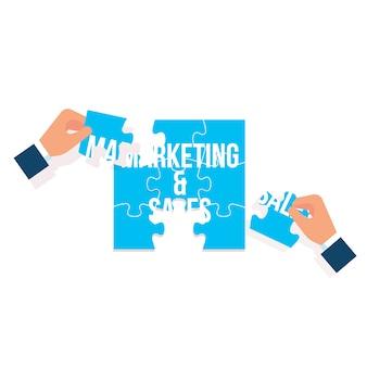 Marketing en verkooppuzzel