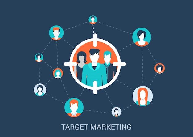 Marketing gericht concept vlakke stijl illustratie. doelgroep mensen in zicht marker verbonden met andere abstracte profielavatars.