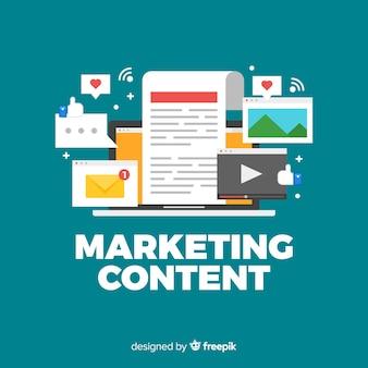 Marketing inhoud platte achtergrond Gratis Vector
