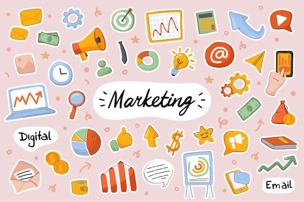 Marketing leuke stickers sjabloon scrapbooking elementen instellen