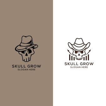 Marketing logo met schedel concept