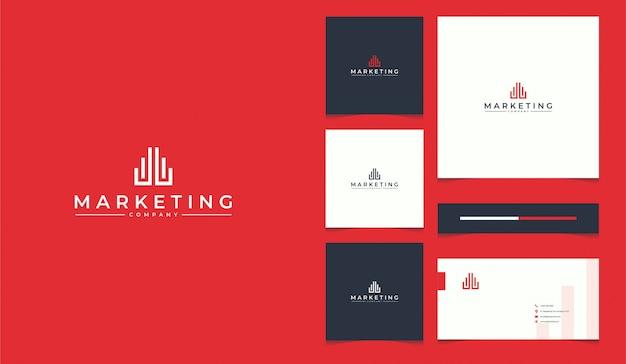 Marketing logo ontwerp met sjabloon voor visitekaartjes