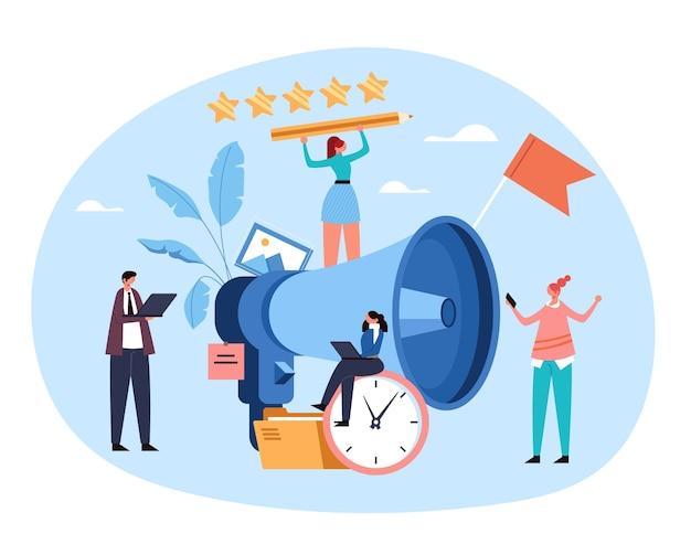 Marketing optimalisatie aankondiging zakelijke promotie advertentie door megafoon markt digitale promo concept plat