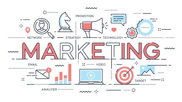 Marketing, promotie, reclame, seo, sociale media dunne lijn