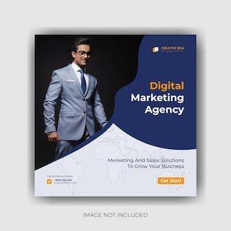 Marketing social media banner en instagram post sjabloon premium vector