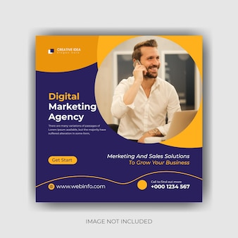 Marketing social media post-sjabloon premium vector
