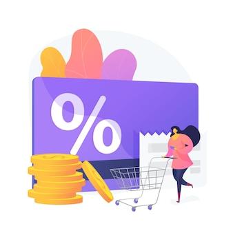 Marketing strategie cartoon web pictogram. loyaliteitsbedrijfsmodel, winkelkortingsaanbieding, klantbeloning. winkel virtuele valuta, punten inwisselen. vector geïsoleerde concept metafoor illustratie