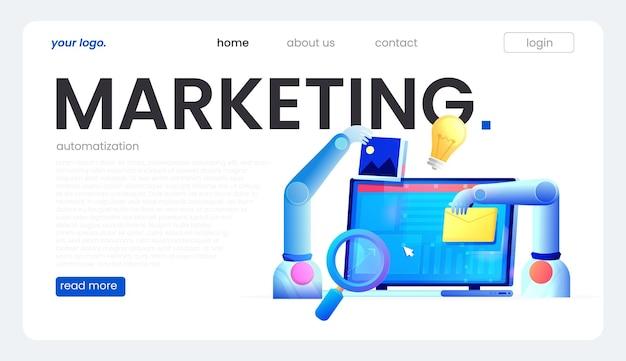Marketingautomatisering. computer met een site die de handen van de robot bouwt. platte vectorillustratie.