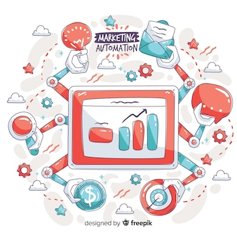 Marketingautomatisering hand getrokken achtergrond