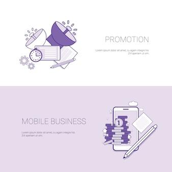 Marketingbevordering en mobiele zakelijke sjabloon webbanner met kopie ruimte
