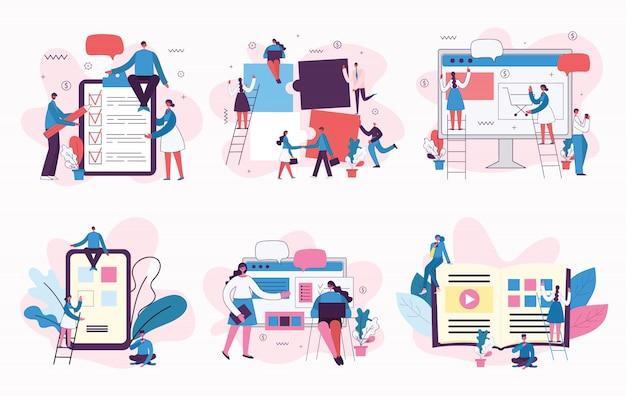 Marketingcampagne, videoconferentie, bedrijfsanalyseconceptillustratie in modern vlak en schoon ontwerp.