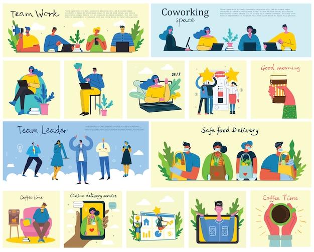 Marketingcampagne, videoconferentie, koffietijd, bedrijfsanalyseconceptillustratie in vlak en schoon ontwerp. mannen en vrouwen gebruiken laptop en tablet in het platte ontwerp.