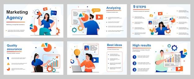 Marketingconcept voor presentatiediasjabloon marketeers en analisten werken bij bureau