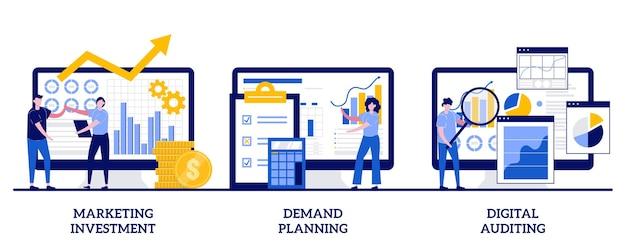 Marketinginvesteringen, vraagplanning, digitaal auditconcept met kleine mensen