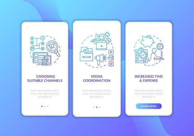 Marketingkanaalstrategie onboarding mobiele app-paginascherm met concepten