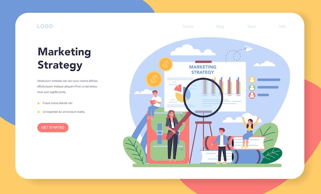 Marketingonderwijs schoolcursus webbanner of bestemmingspagina