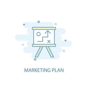 Marketingplan lijnconcept. eenvoudig lijnpictogram, gekleurde illustratie. marketingplan symbool plat ontwerp. kan worden gebruikt voor ui/ux