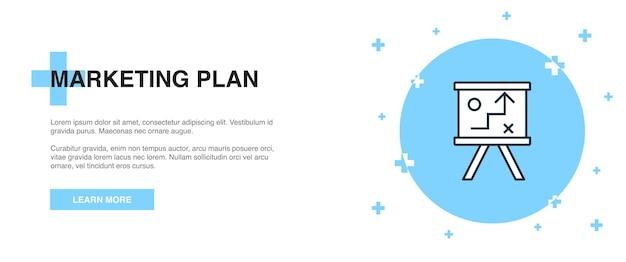 Marketingplan pictogram, banner overzicht sjabloon concept. marketingplan lijn illustratie ontwerp