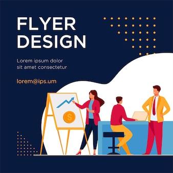 Marketingprofessional die financiële grafiek presenteert aan baas. zakelijke team dat werkt in kantoor platte flyer-sjabloon
