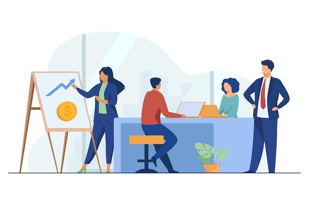 Marketingprofessional die financiële grafiek presenteert aan baas.