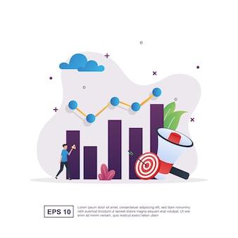 Marketingstrategie met afbeeldingen en pijlen die aan het doel zijn gekoppeld.