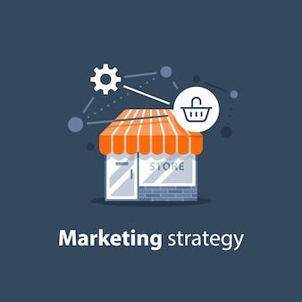 Marketingstrategie, online winkeltechnologie, winkelontwikkeling, winkel voorkant illustratie