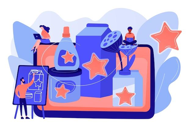 Marketingstrategie, promotiecampagne, ontwerper die inhoud creëert