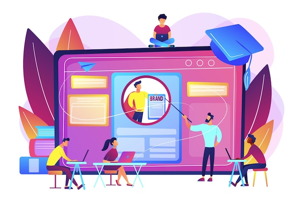 Marketingstudenten creëren een huisstijl. personal branding cursus, strategisch zelfmarketing onderwijs, personal branding online cursussen concept.