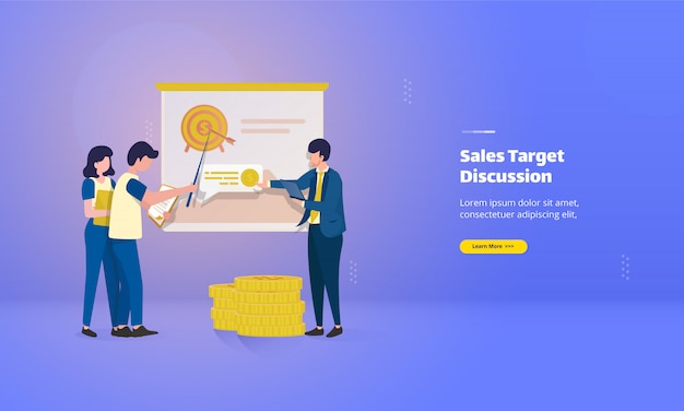 Marketingteam bespreekt de bestemmingspagina van het verkoopdoel