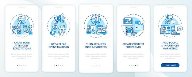 Marketingtips voor virtuele evenementen voor het onboarding van het paginascherm van de mobiele app met concepten