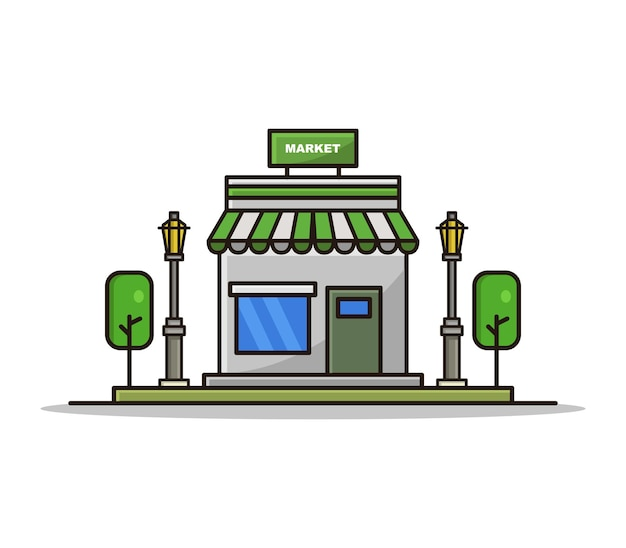 Markt geïllustreerde cartoon