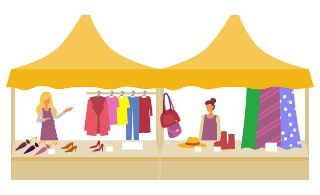 Markt met kleding en accessoires sale store