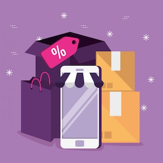 Markt online winkelen met smartphonetechnologie