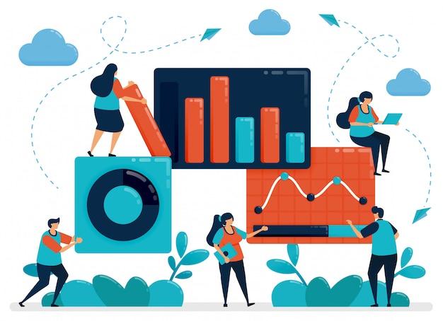 Markt statistische analyse. bedrijfsgrafiekgegevens. werk met statistische gegevens. economische en zakelijke groei. startend bedrijf plannen.