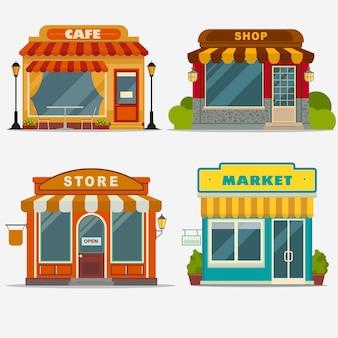 Markt, straatwinkel, cafégevelset, kleine winkel voorkant, winkelontwerp gedetailleerde illustratie.