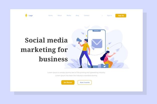 Markt team social media aankondiging landingspagina zakelijke financiën vlakke gradiëntstijl illustratie