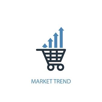 Markt trend concept 2 gekleurd icoon. eenvoudige blauwe elementenillustratie. markt trend concept symbool ontwerp. kan worden gebruikt voor web- en mobiele ui/ux